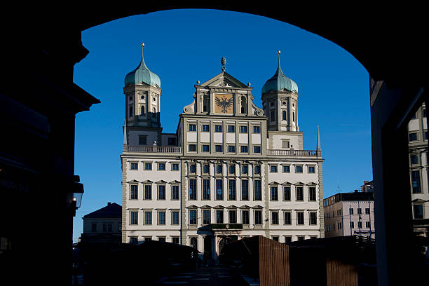 The Town Hall of Augsburg The town hall of Augsburg, beautiful mannerism building on the Romantische Strasse in Bavaria artistical stock pictures, royalty-free photos & images