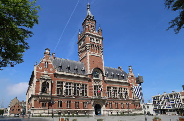 The town hall of Dunkirk, France stock photo
