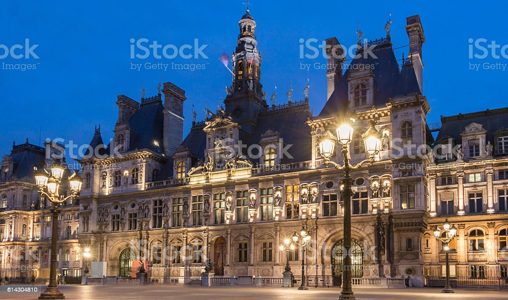The town hall of Paris at night, France. stock photo