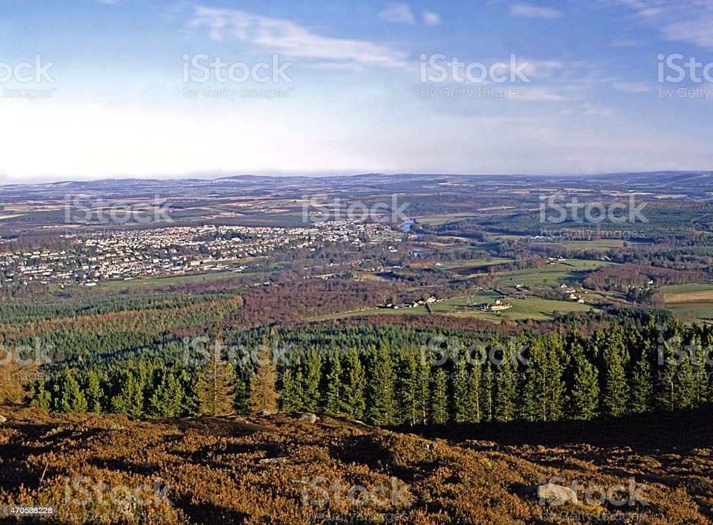The town of Banchory from Scolty Hill stock photo