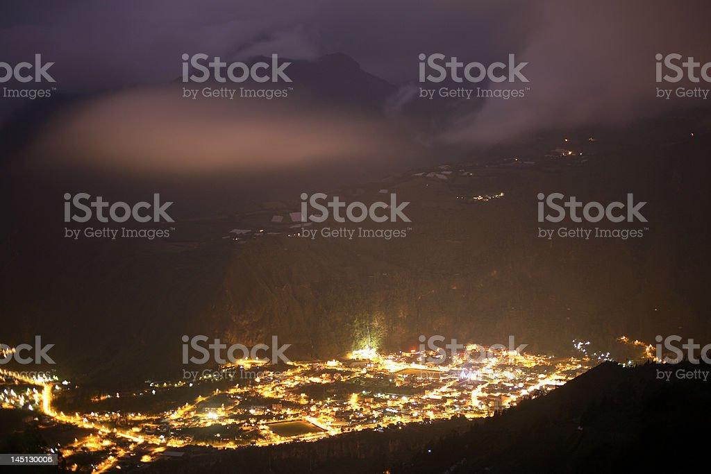 The town of Banos, Ecuador at night stock photo