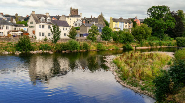 The town of Brecon in Brecom Beacons National Park View of downtown Brecon, situated along the river brecon beacons stock pictures, royalty-free photos & images