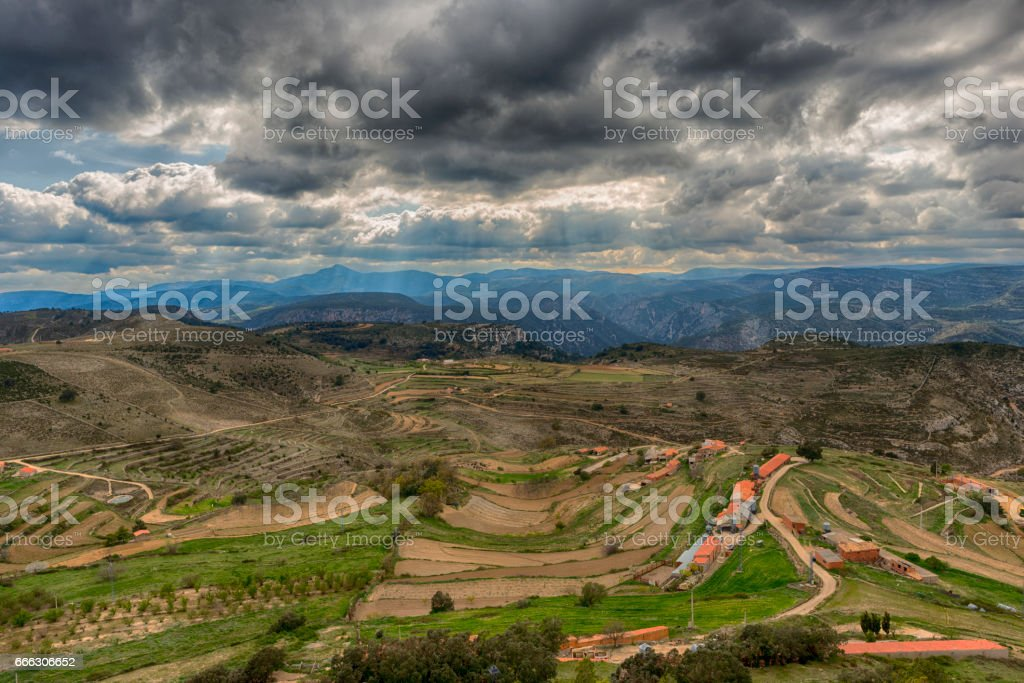 The town of Culla in Castellon, Valencia stock photo