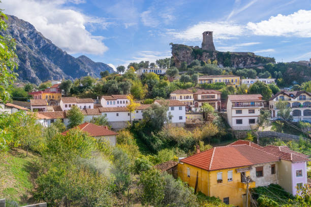 The Town of Kruje in Albania stock photo