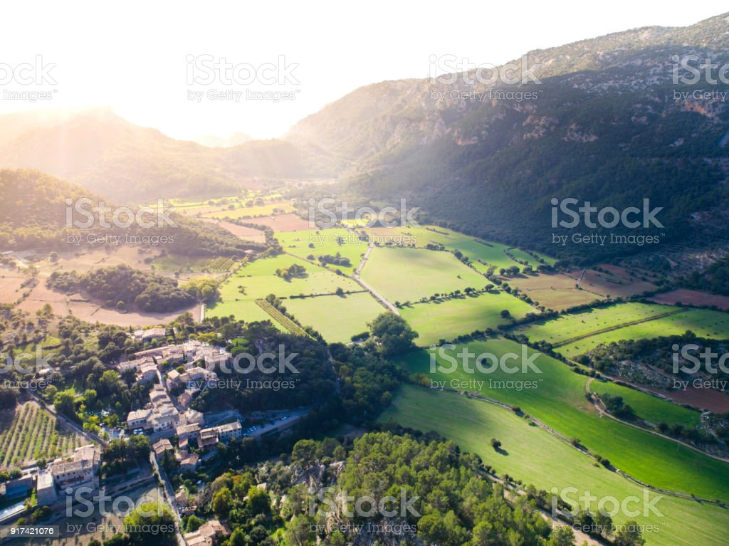 The Town of Orient, in the Mountains and Landscapes in the Serra de Tramuntana, in North Mallorca / Majorca stock photo