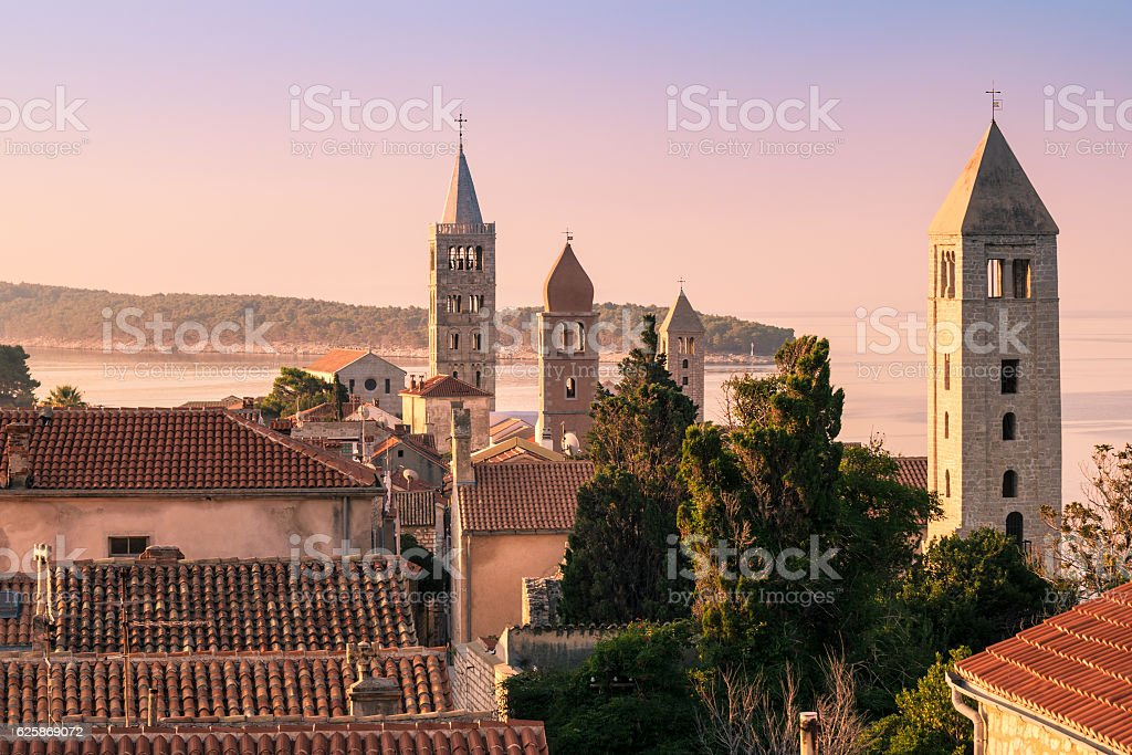 The town of Rab, Croatian tourist resort famous for its stock photo