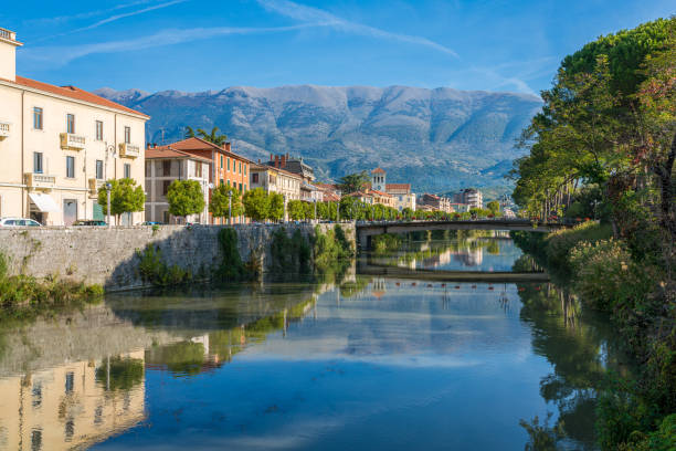 The town of Sora on a sunny morning. Province of Frosinone, Lazio, Italy. The town of Sora on a sunny morning. Province of Frosinone, Lazio, Italy. lazio stock pictures, royalty-free photos & images
