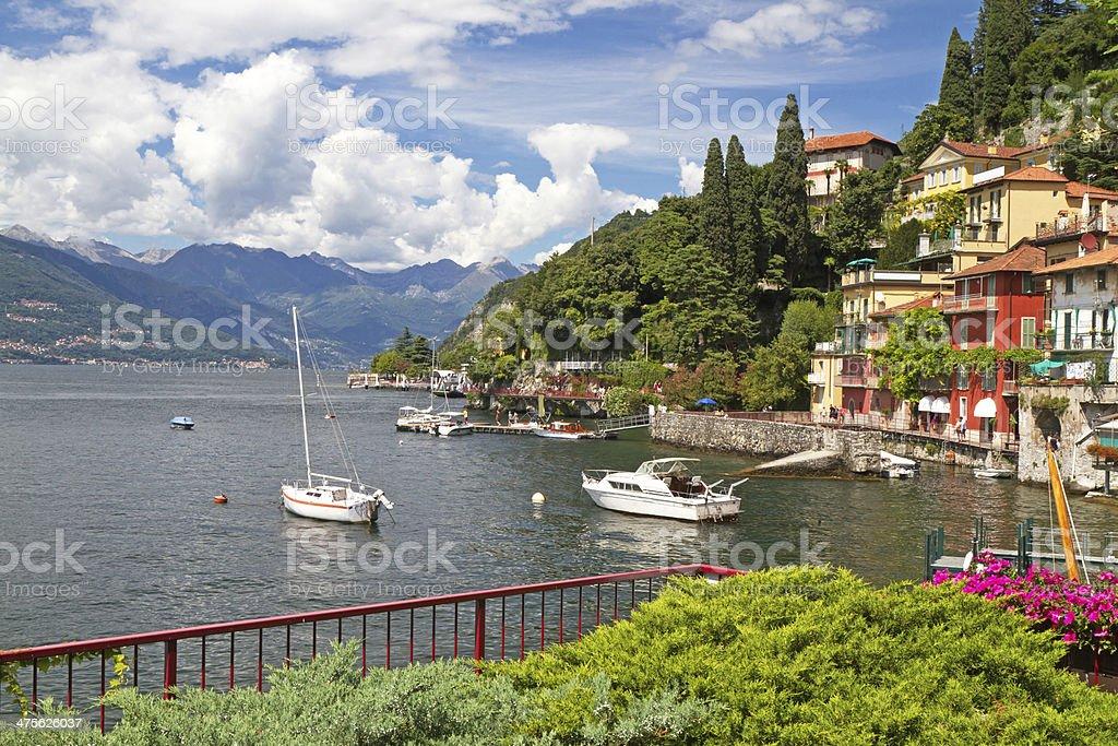The town of Varenna at lake Como, Italy stock photo