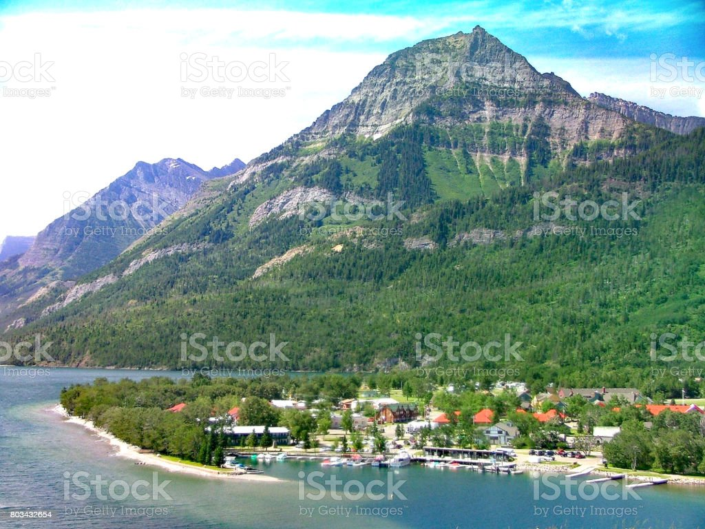 The town of Waterton from above with marina stock photo