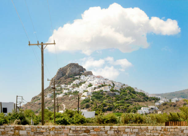 The town on the hill of Skyros island stock photo