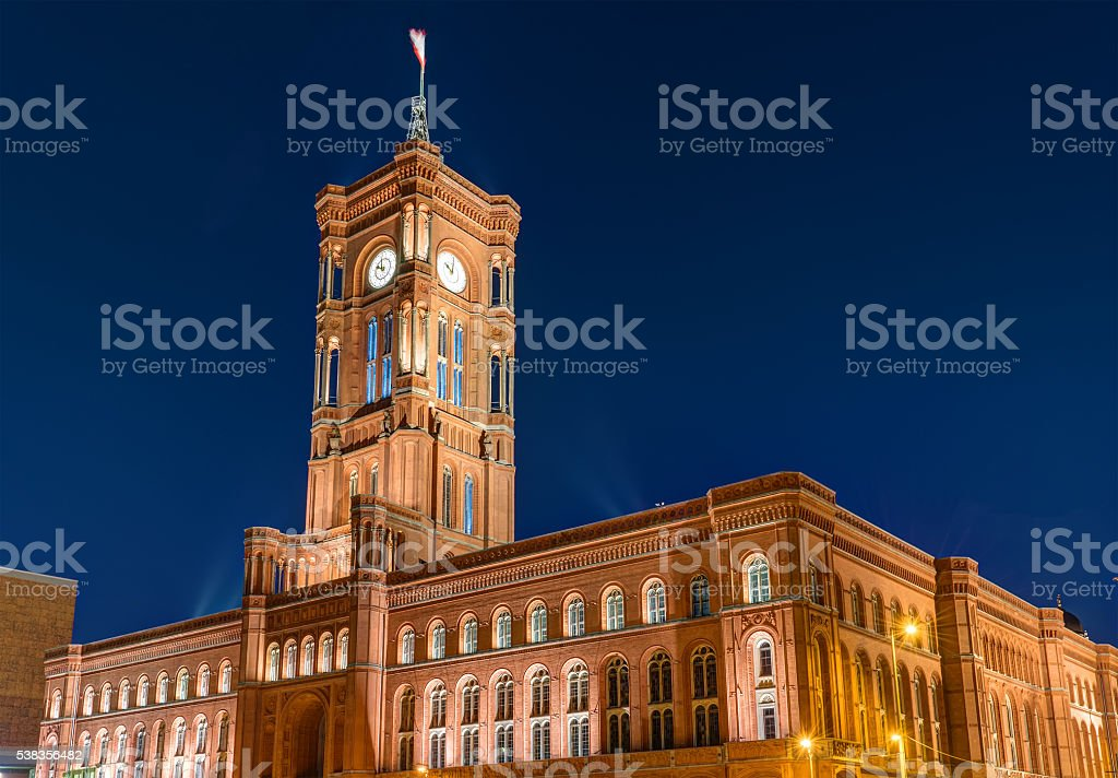 The townhall of Berlin at night stock photo