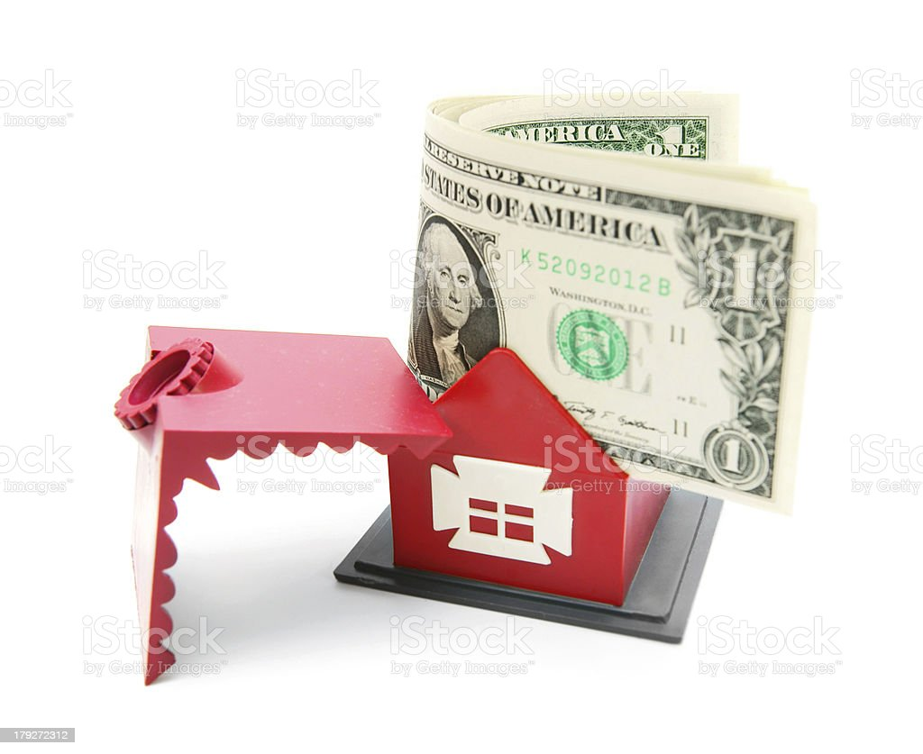 The toy house and money. royalty-free stock photo