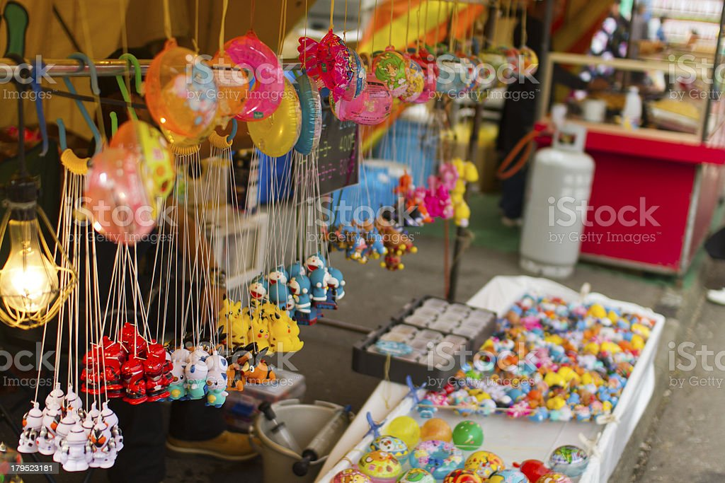The toy stalls in Japanese festival. stock photo