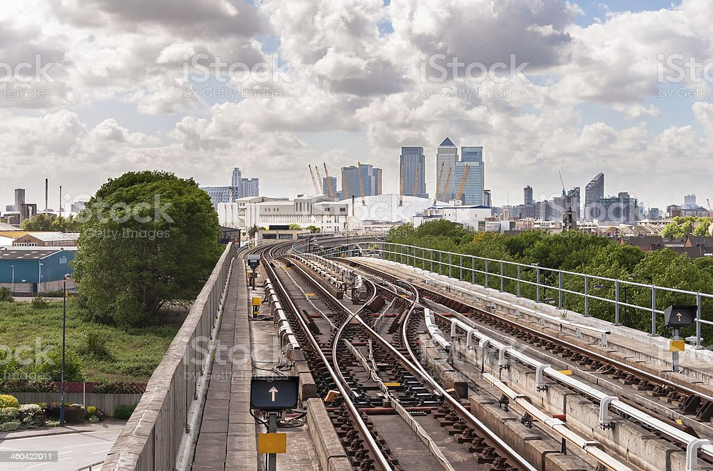 The tracks of Docklands Light Railway stock photo
