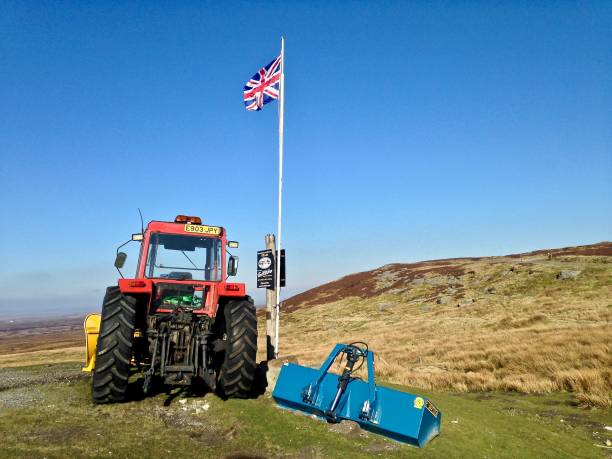 the tractor on the hill - mcdermp stock photos and pictures