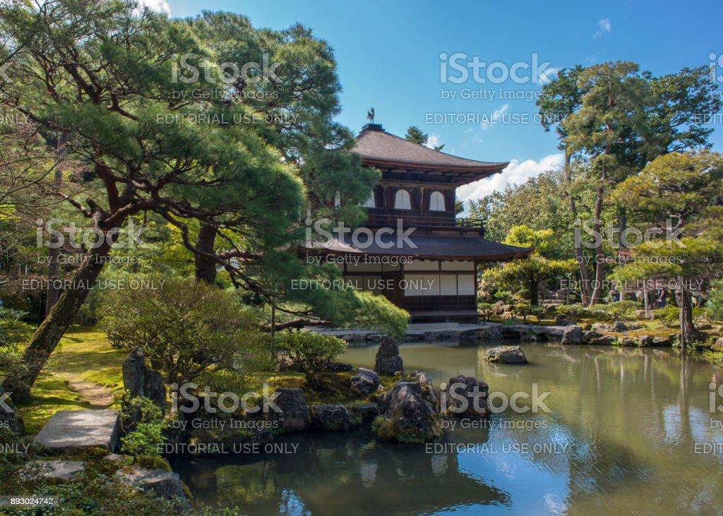 The tradional Japanese style garden of temple Ginkaku-ji in Kyoto, Japan stock photo