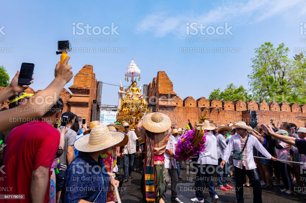 The tradition of bathing the Buddha Phra Singh marched on an annual basis With respect to faith In Songkran festival (Thailand New Year) stock photo
