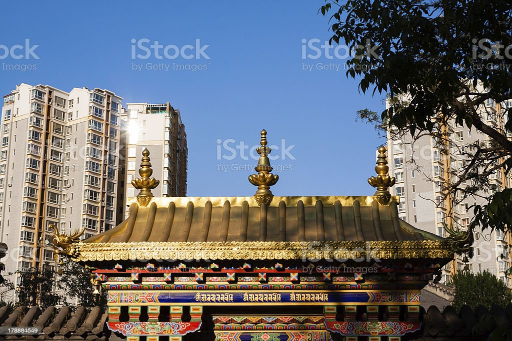 The traditional building roof in modern city royalty-free stock photo
