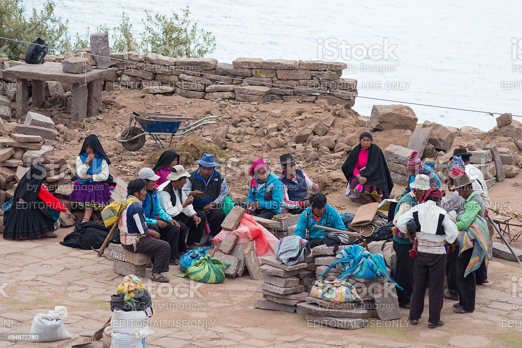The traditional community of Taquile, Titicaca Lake, Peru stock photo
