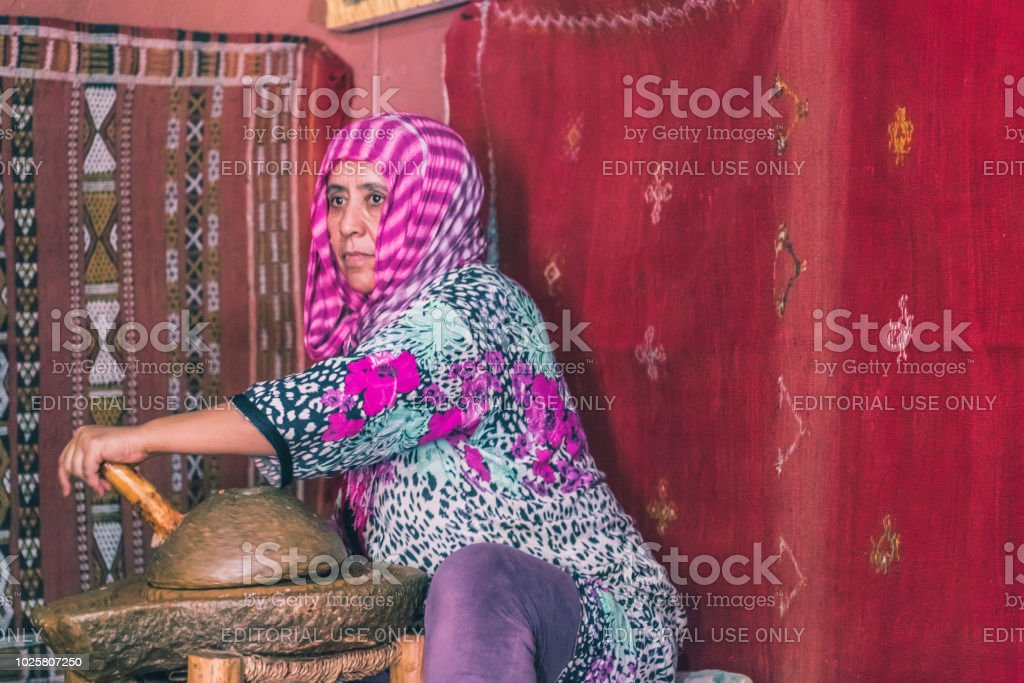 The traditional making of the Argan oil in Marocco stock photo