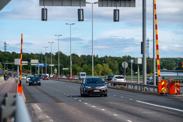 The traffic enforcement cameras have presumably caused even accidents. Two traffic cameras monitoring speed limits in the Finnish highway. stock photo