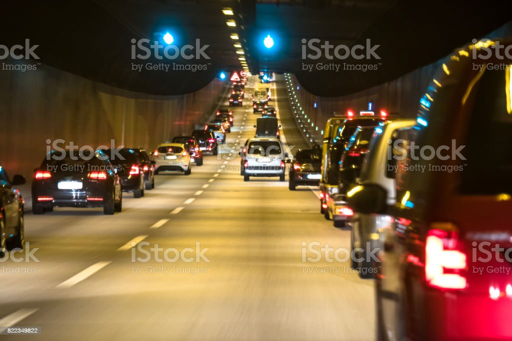 The traffic is queing in the Elbtunnel of the city of Hamburg stock photo
