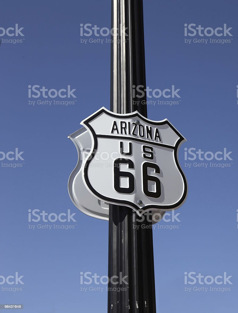 The traffic sign in Arisona, Historic route 66 royalty-free stock photo