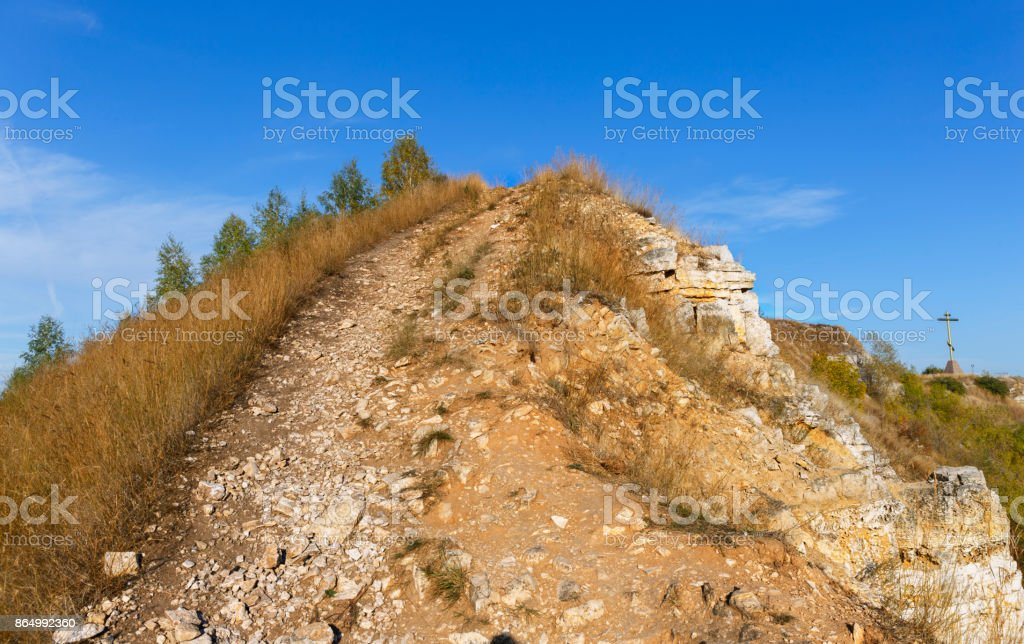 the trail uphill road. stock photo