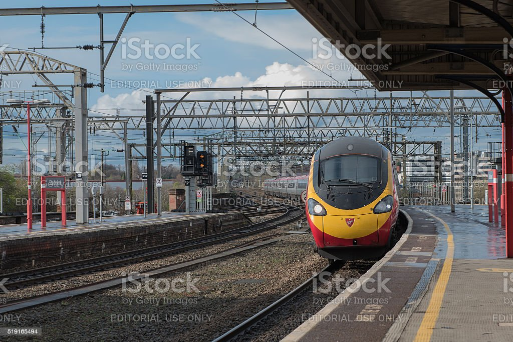 The Train Arriving at Platform 2….. stock photo