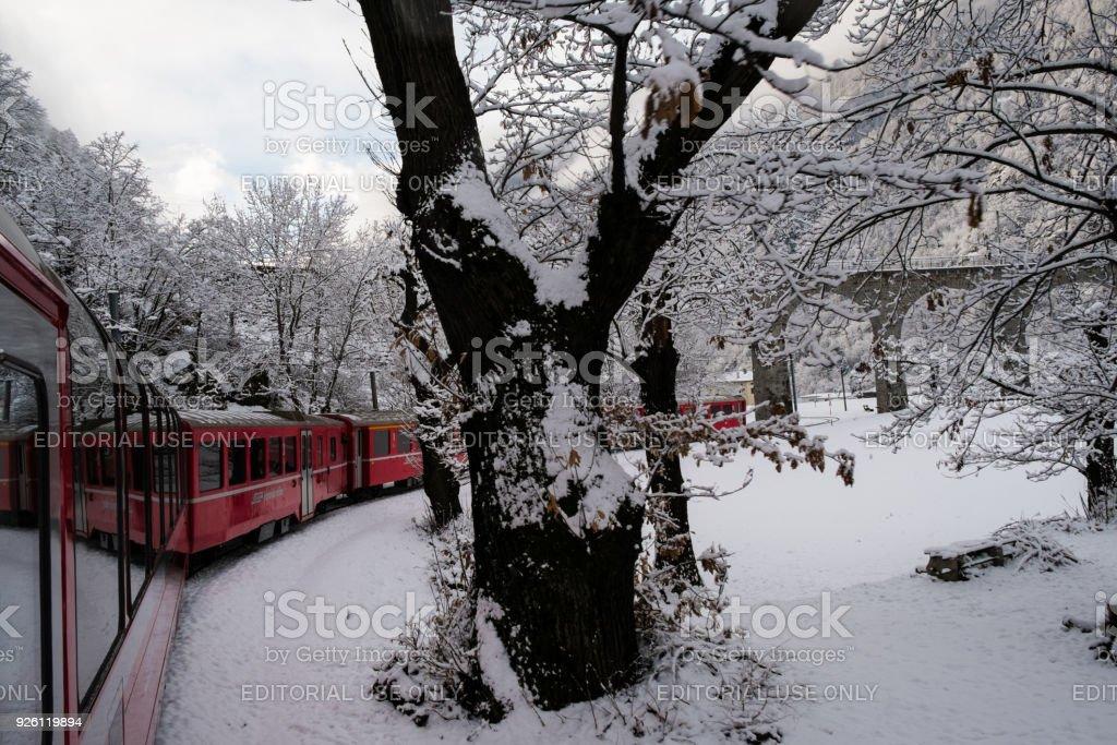 The train Bernina Expres stock photo