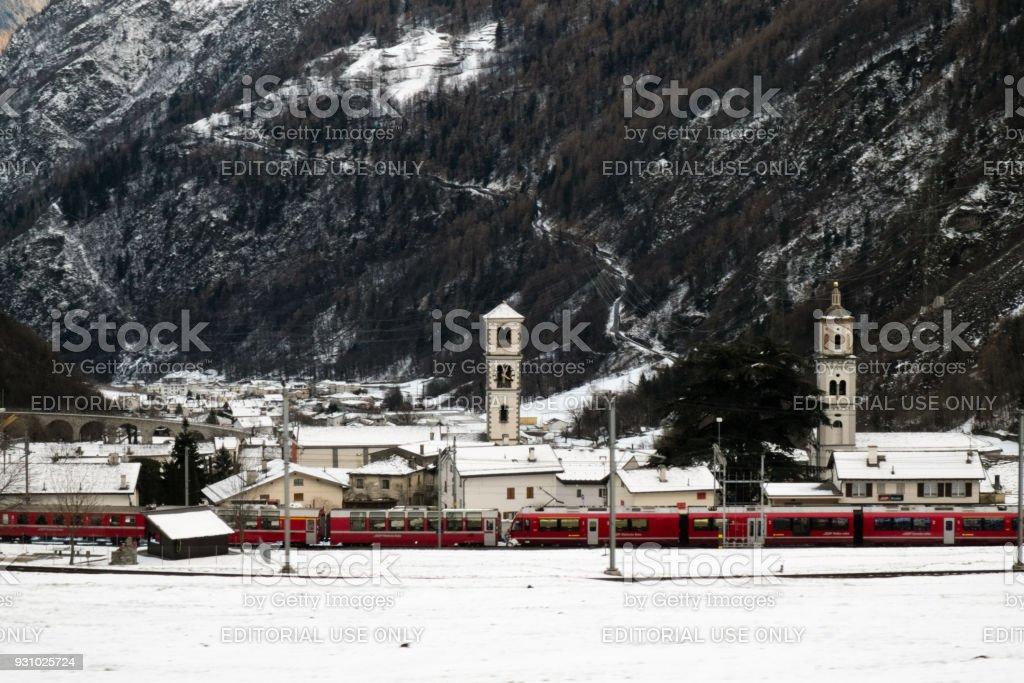 The train Bernina Express and the Brusio village stock photo