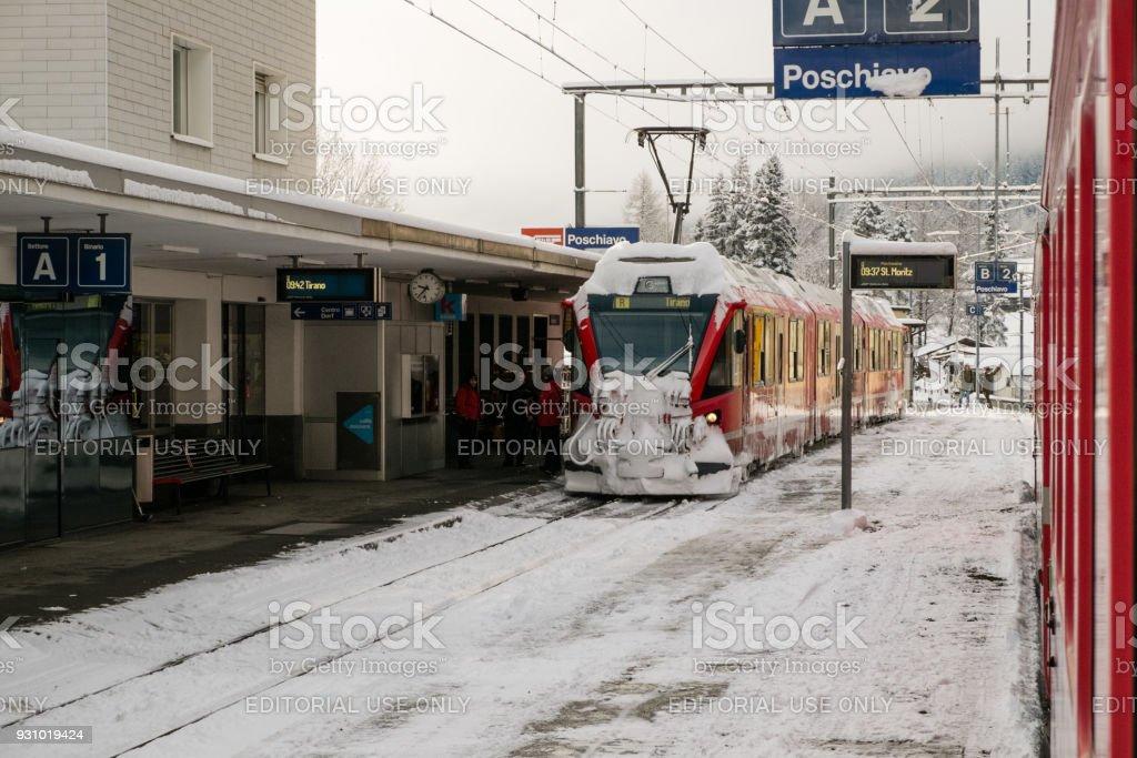 The train Bernina Express during a stop stock photo