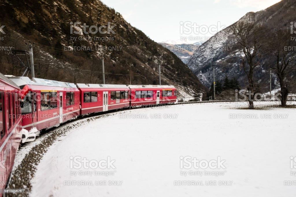 The train Bernina Express in winter stock photo