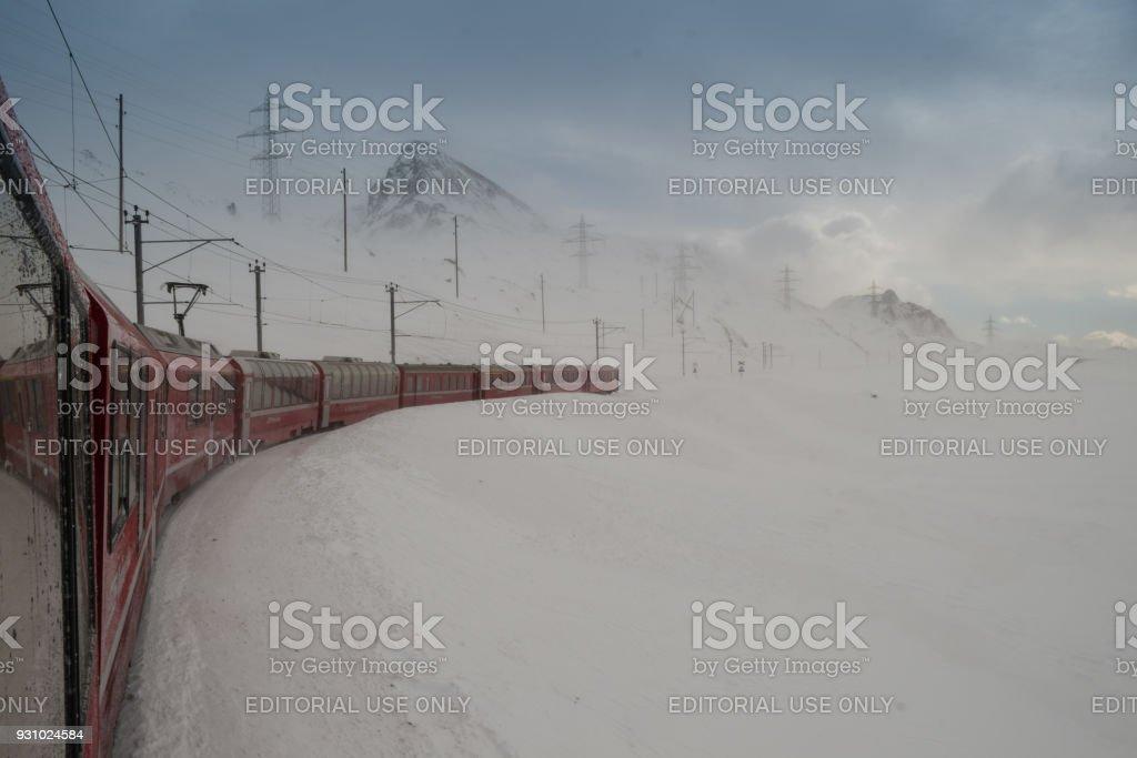 The train Bernina Express, Unesco world heritage stock photo
