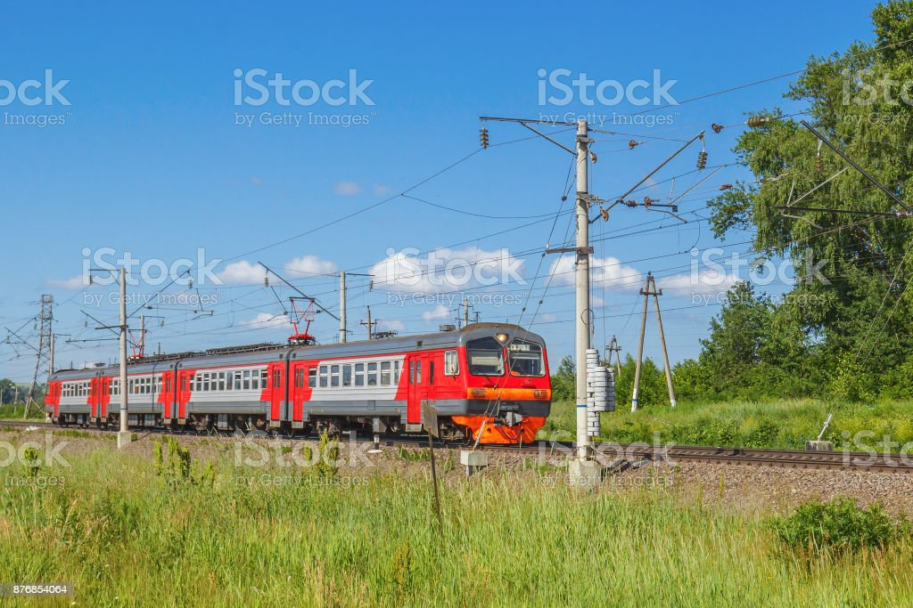 The train moves along the rails stock photo