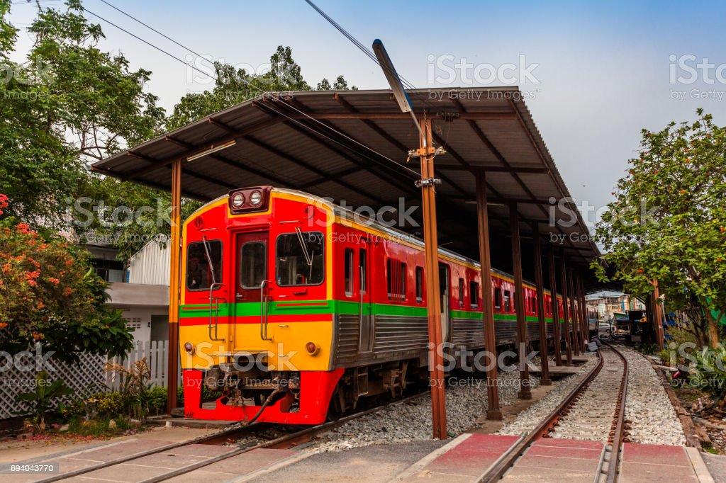 the train pass inside the fresh market stock photo