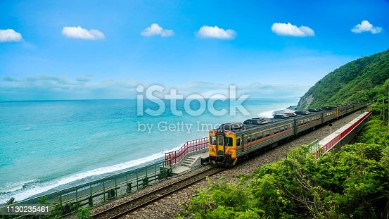 The The train station beside the beach on the east of Taiwan