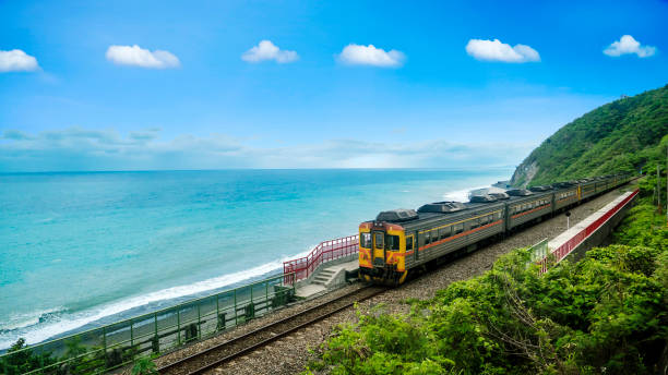 The train station beside the beach on the east of Taiwan The The train station beside the beach on the east of Taiwan taiwan stock pictures, royalty-free photos & images