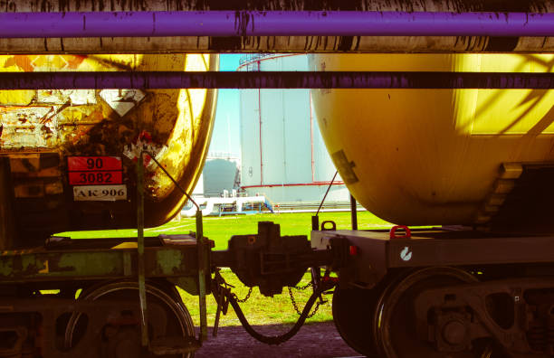The train tanks with oil and fuel stock photo