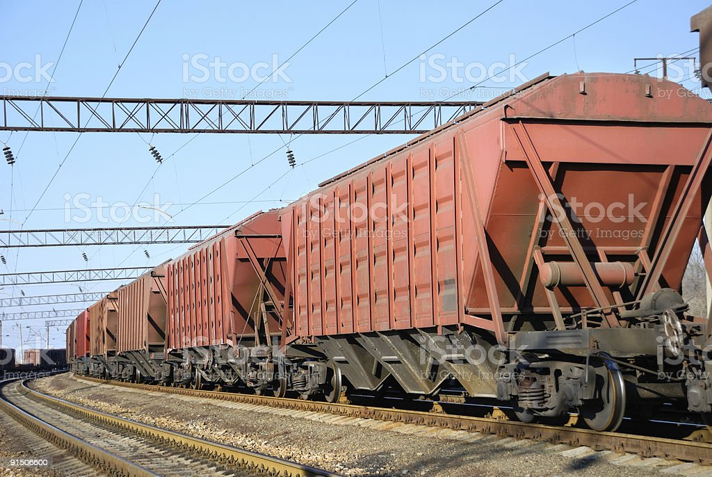 The train with cars for dry cargo stock photo