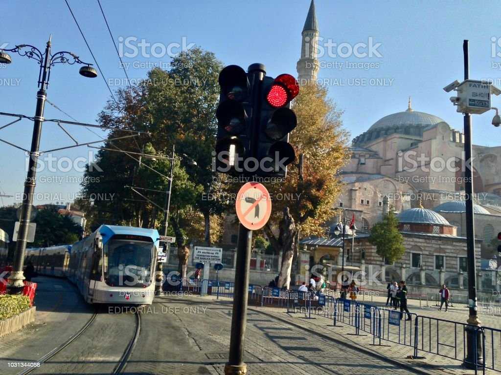 The Tram to Hagia Sophia stock photo