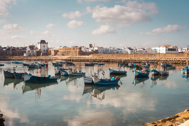 The tranquil harbour of Assilah, Morocco - foto stock