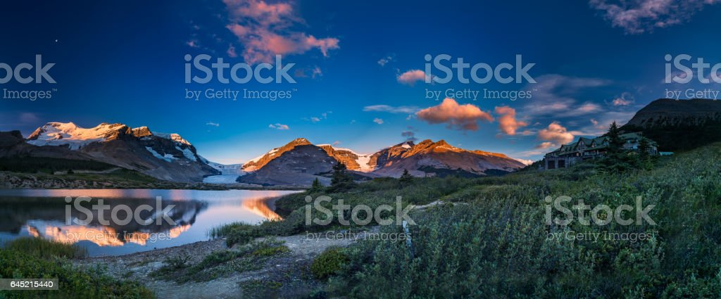 The tranquil morning at ice field center stock photo