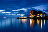 Beautiful and tranquil night and seascape of  Maldives
