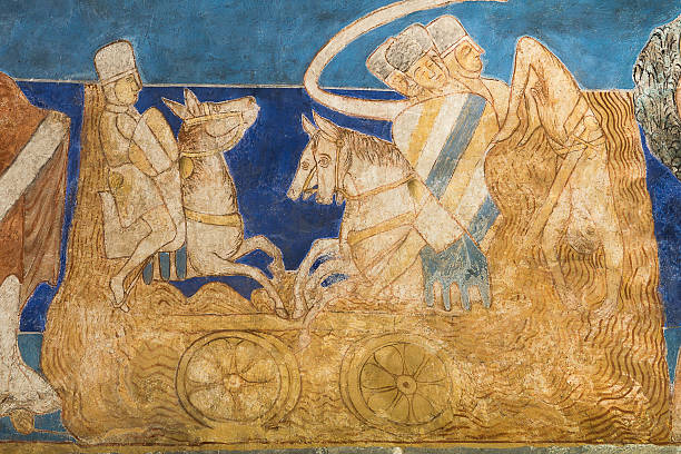 The transition of the Red Sea. Romanesque wall painting stock photo