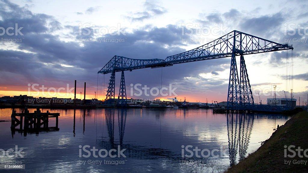 The Transporter Bridge, Teesside, at sunset stock photo