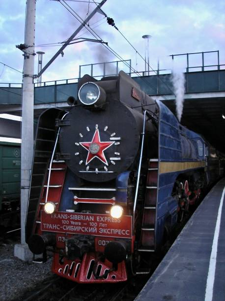the trans-siberian express in profile - mcdermp stock pictures, royalty-free photos & images