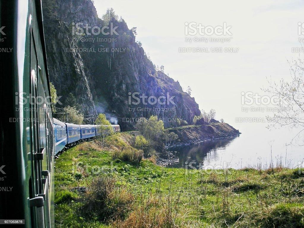 The Trans-Siberian Express Skirts Lake Baikal stock photo