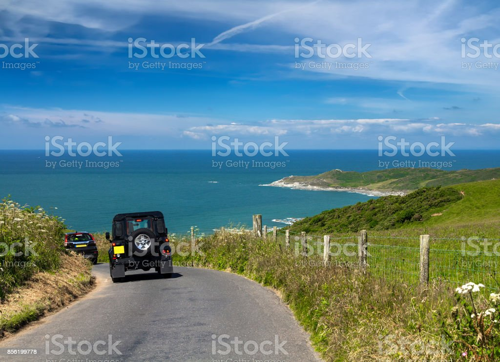 The traveler travels by car along the coast of Devon stock photo