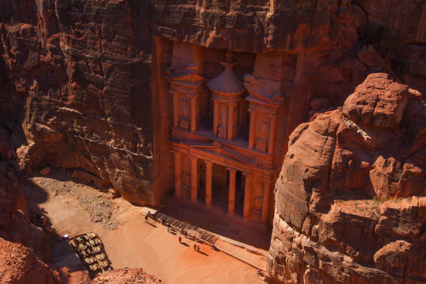 The Treasury. Ancient city of Petra The Treasury. Ancient city of Petra, Jordan riverbed stock pictures, royalty-free photos & images